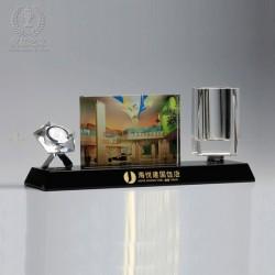 水晶辦公擺件,水晶辦公筆筒,企業加盟紀念品,連鎖店週年紀念品